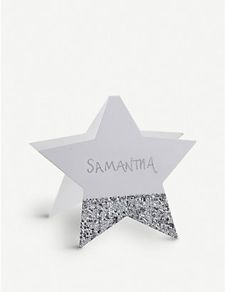 GINGER RAY: Glitter-dipped star place cards pack of six