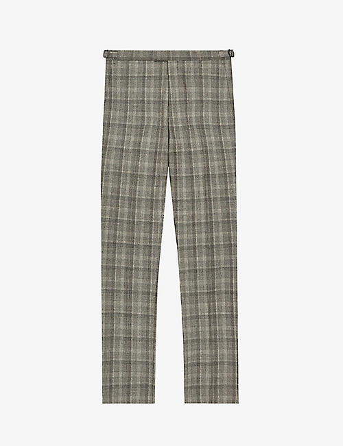 REISS: Oxshott checked slim-fit woven trousers