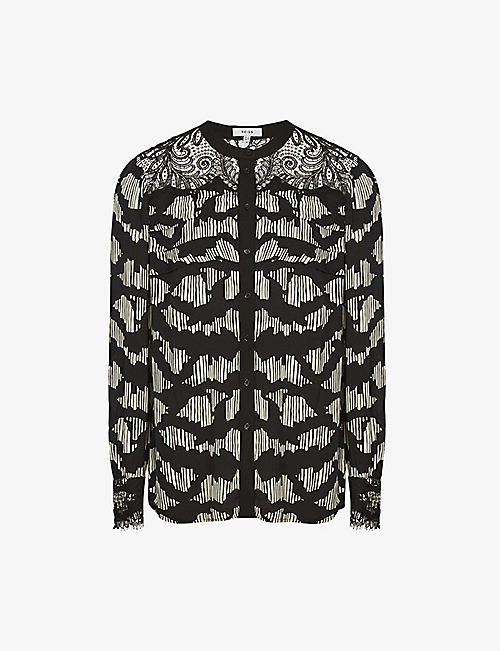 REISS: Ana lace-trimmed crepe blouse