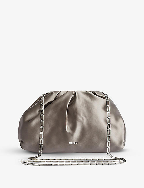 REISS: Ellena satin clutch bag