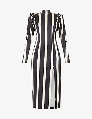 ROTATE BIRGER CHRISTENSEN: Theresa striped woven midi dress
