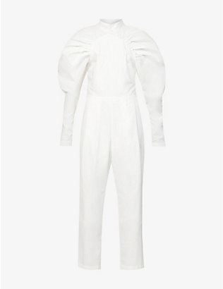 ROTATE BIRGER CHRISTENSEN: Kim puffed-sleeve cotton-poplin jumpsuit