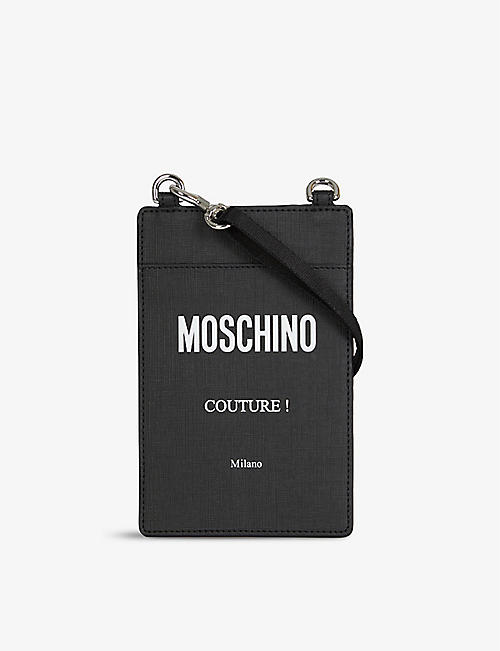 MOSCHINO: Logo-print faux-leather cross-body pouch