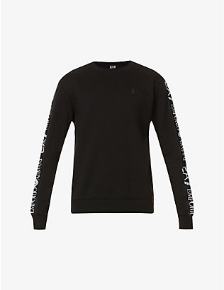 EA7 ARMANI: Brand-tape cotton-blend jersey sweatshirt