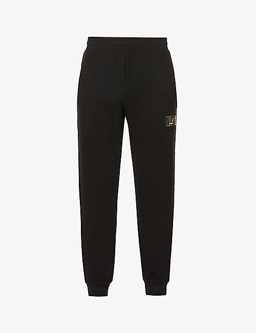 EA7 ARMANI: Brand-appliqué cotton-blend jersey jogging bottoms