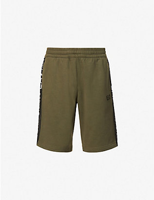 EA7 ARMANI: Logo-taped cotton-blend jersey shorts