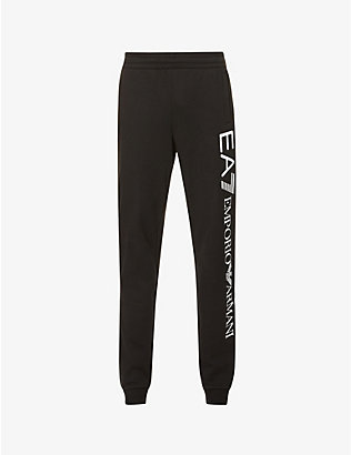 EA7 ARMANI: Logo print cotton-jersey jogging bottoms