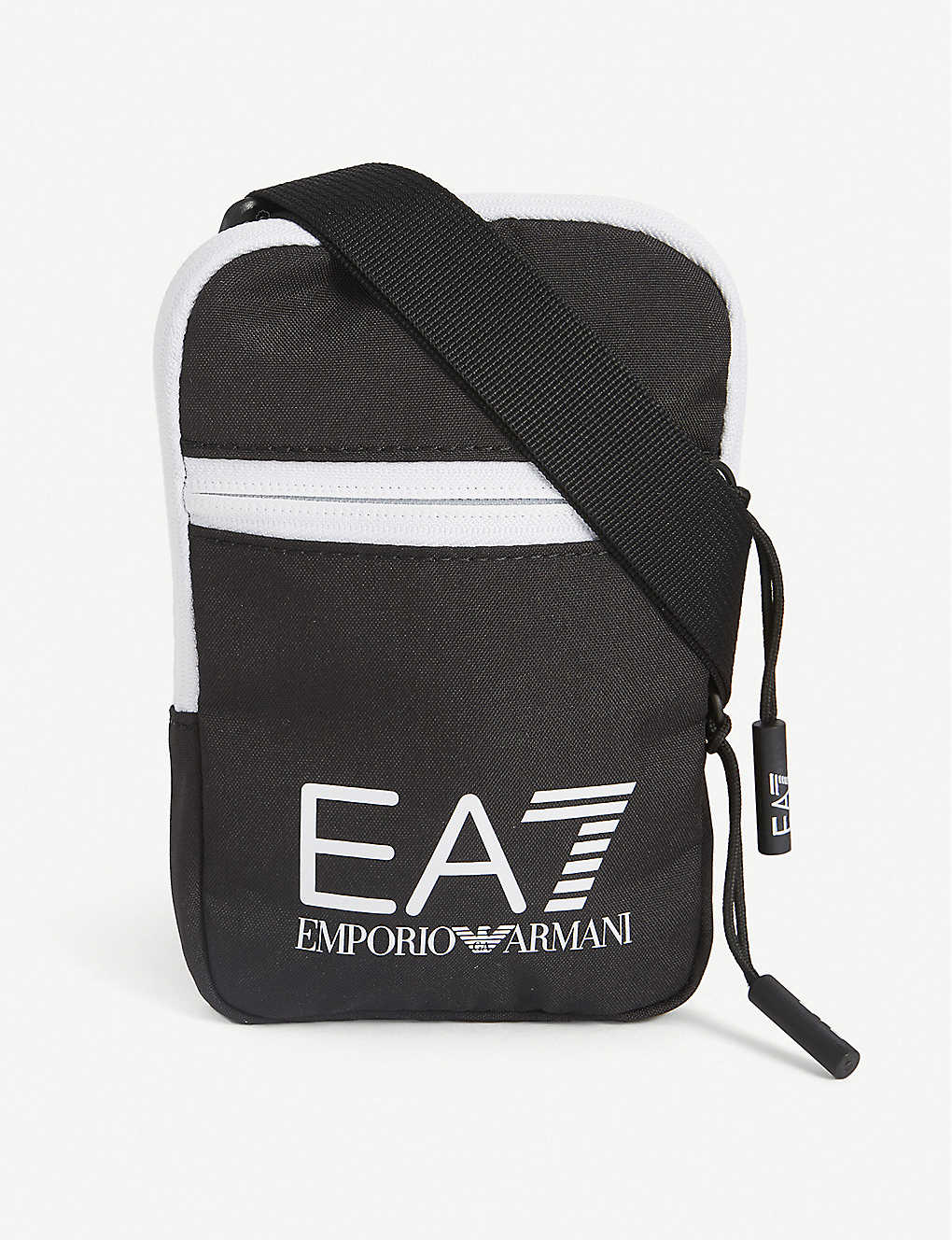 EA7 ARMANI: Logo-print satin crossbody bag
