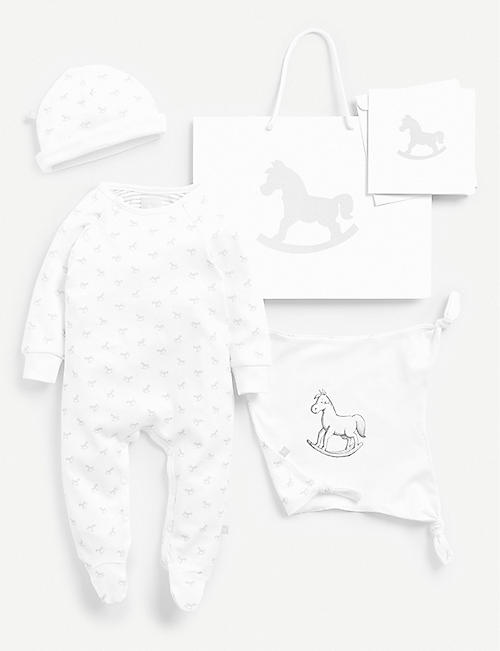 THE LITTLE TAILOR: Cotton sleep suit, hat and comforter gift set 0-6 months
