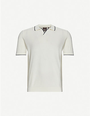 OSCAR JACOBSON: Marvin cotton-knit polo shirt