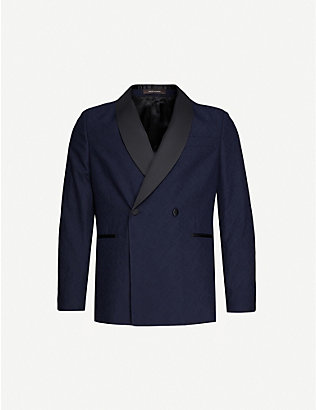 OSCAR JACOBSON: Ettore double-breasted slim-fit cotton and wool-blend blazer