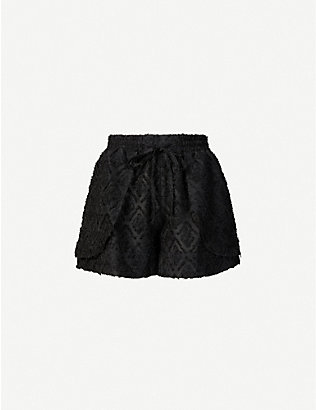 IBEN: Alamo embroidered high-rise woven shorts