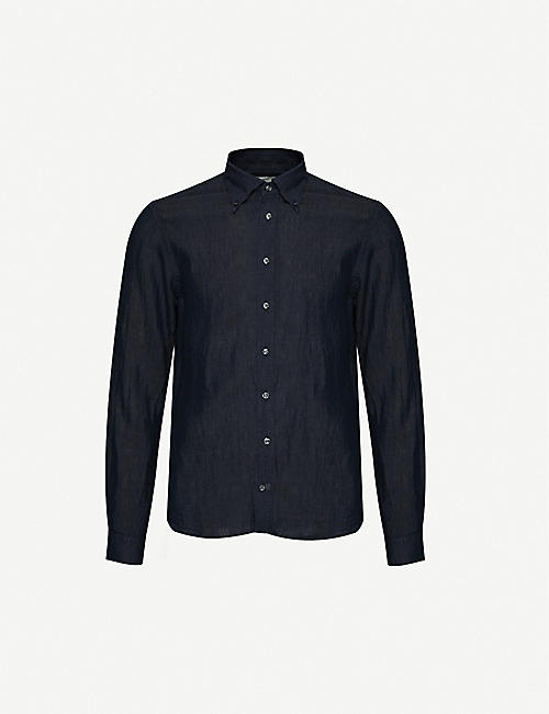 OSCAR JACOBSON: Harry slim-fit linen shirt