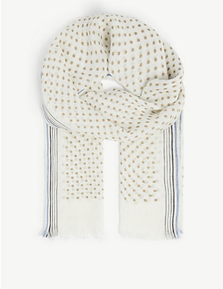 OSCAR JACOBSON: Spotted linen scarf