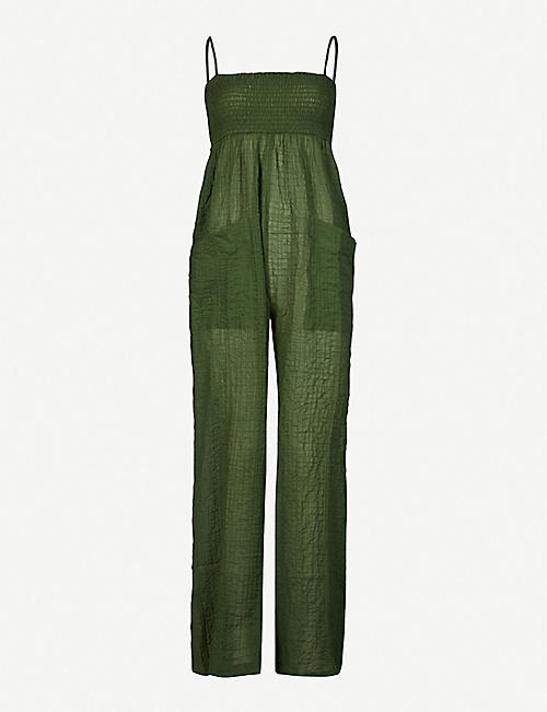THREE GRACES LONDON: Tallie shirred and crinkled stretch-cotton jumpsuit