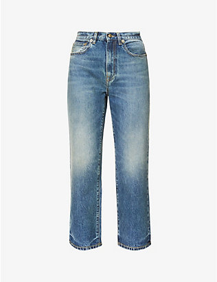 PORTS 1961: Cropped wide-leg high-rise denim jeans
