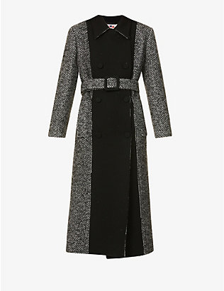 PORTS 1961: Herringbone-print double-breasted wool-blend coat