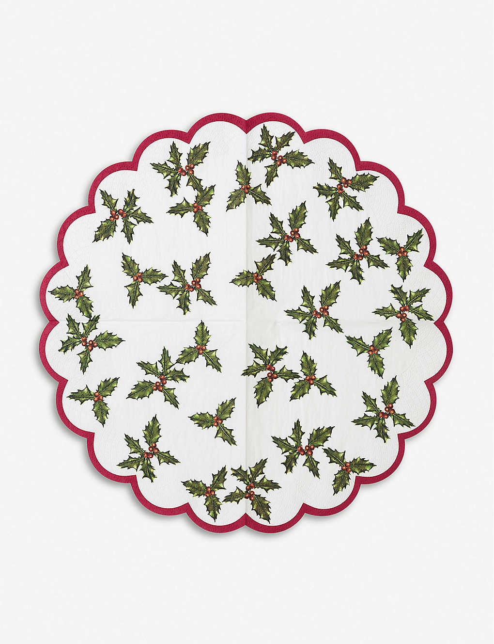 TALKING TABLES: Holly-print scalloped napkins pack of 20