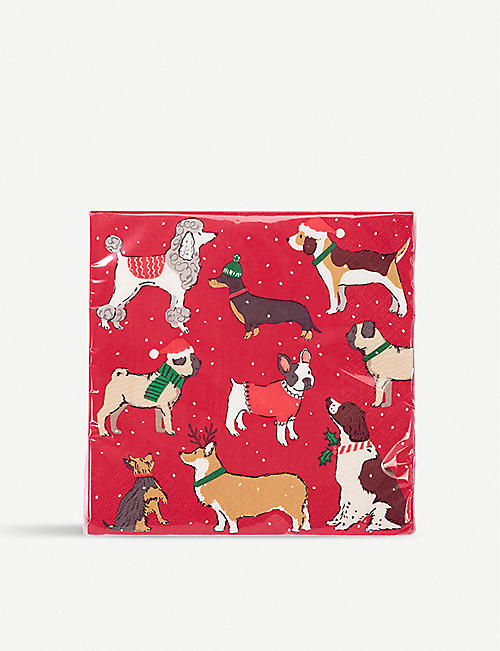 TALKING TABLES: Hound festive napkin pack of 20