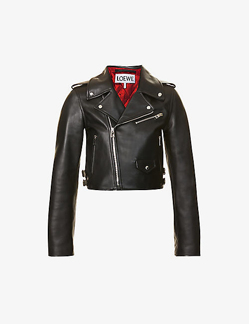 LOEWE: Cropped V-neck leather biker jacket