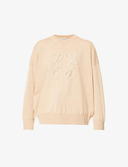 LOEWE: Logo-embroidered wool-blend jumper