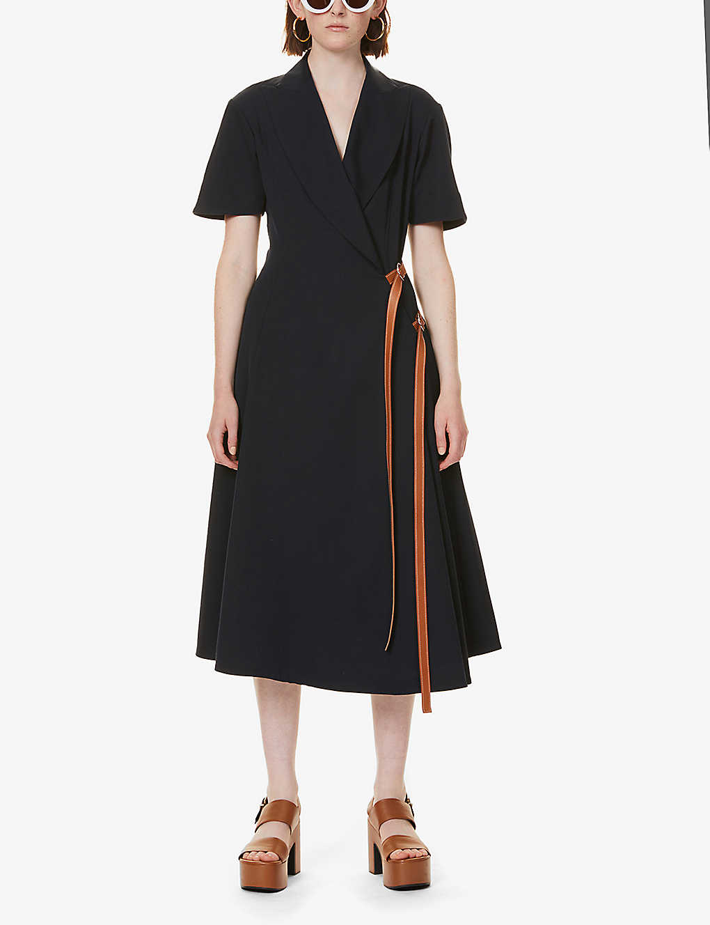 LOEWE: Peak-lapel wool maxi dress