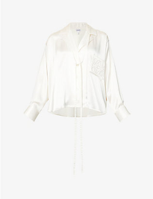 LOEWE: Logo-embroidered satin-crepe shirt