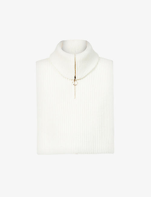 SANDRO: Raven zipped-neck wool and cashmere-blend top