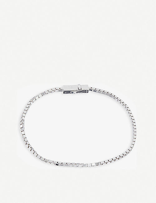 TOM WOOD: Square rhodium-plated sterling silver chain bracelet