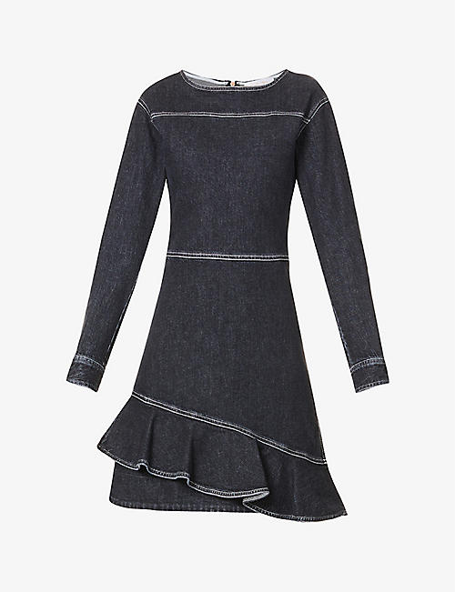 SEE BY CHLOE: Ruffled-trim stretch-denim mini dress