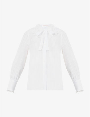 SEE BY CHLOE: Striped sailor-collar cotton-blend top