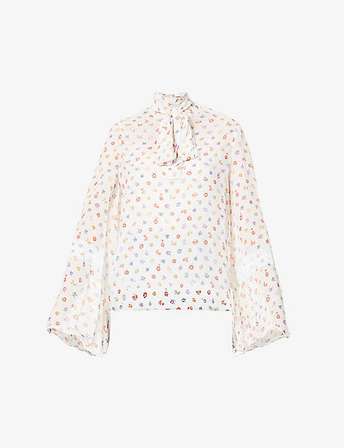 SEE BY CHLOE: Floral-pattern bow-embellished chiffon blouse