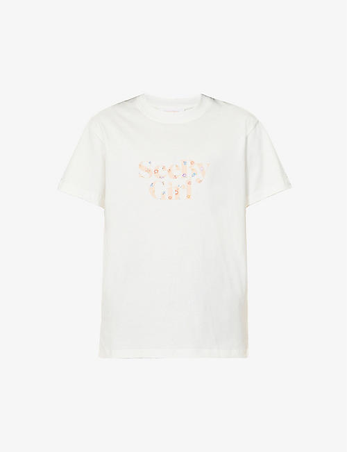 SEE BY CHLOE: Logo-print cotton-jersey T-shirt