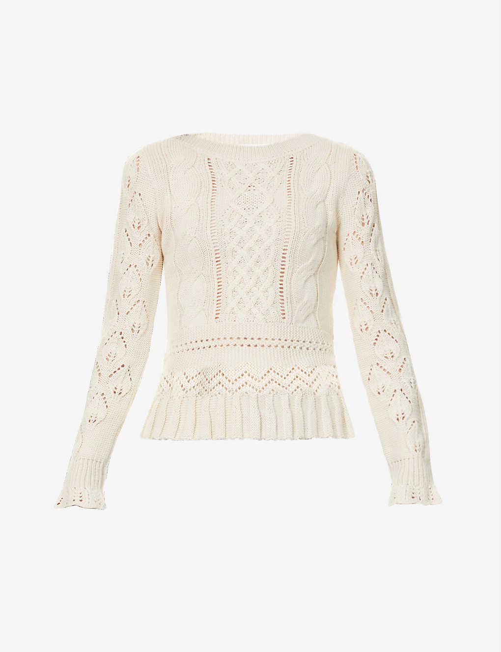 Broderie Knit Jumper Cream