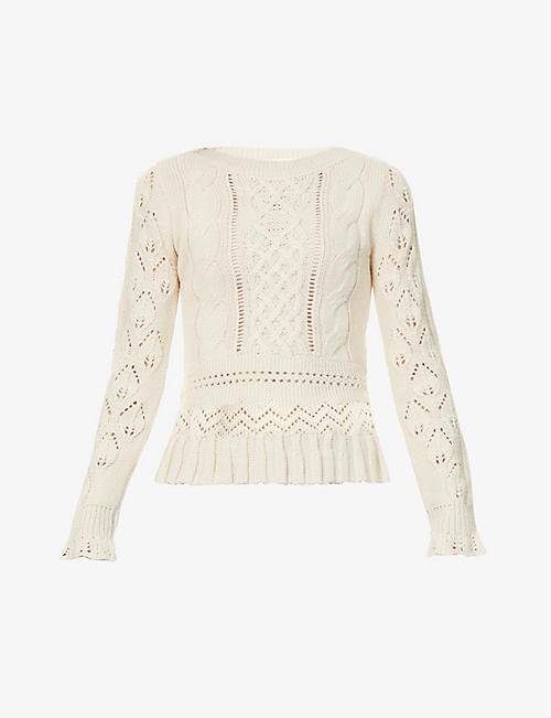 SEE BY CHLOE: Broderie-embroidered alpaca-blend jumper
