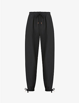 SEE BY CHLOE: Drawstring-waistband cotton-blend trousers