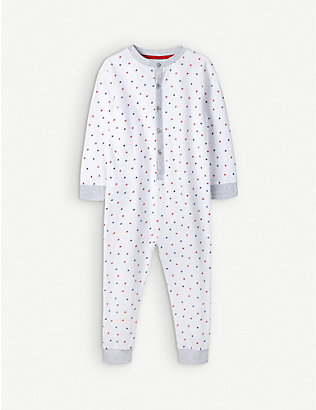 THE LITTLE WHITE COMPANY: Star printed cotton sleepsuit 0-12 months