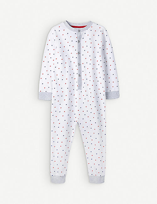 THE LITTLE WHITE COMPANY: Star embroidered bodysuit cotton 0-24 months