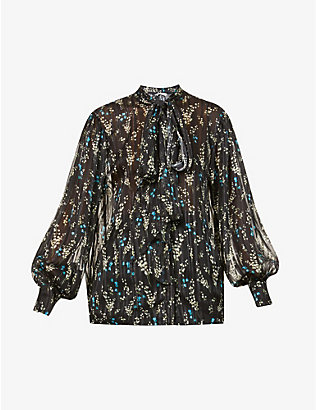 ERDEM: Lowell floral-print silk top