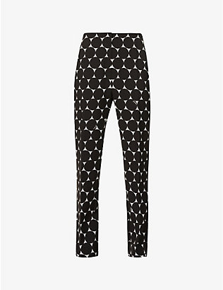 ERDEM: Pansy spot-print tapered mid-rise woven trousers