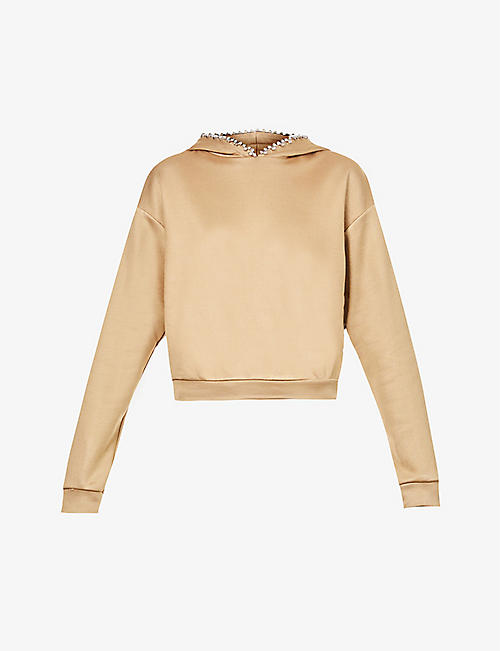 AREA: Crystal-embellished cotton-jersey hoody