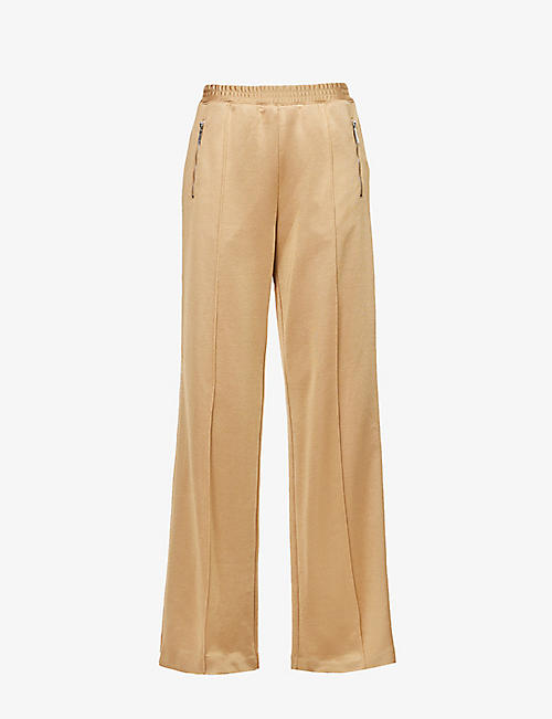 AREA: Crystal-embellished cotton-jersey jogging bottoms