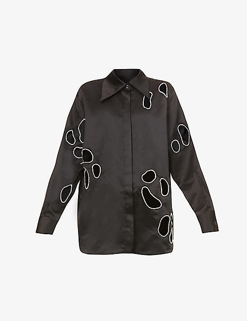AREA: Leopard cut-out satin-crepe shirt