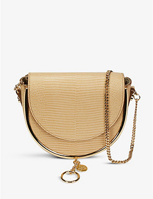 SEE BY CHLOE: Mara lizard-embossed leather cross-body bag