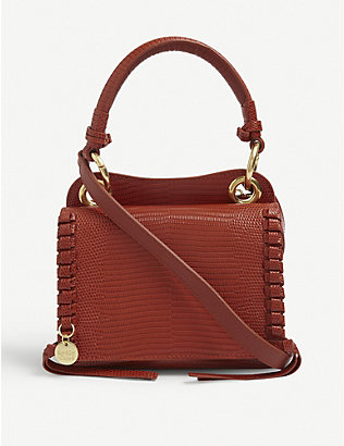 SEE BY CHLOE: Tilda lizard-embossed mini leather cross-body bag