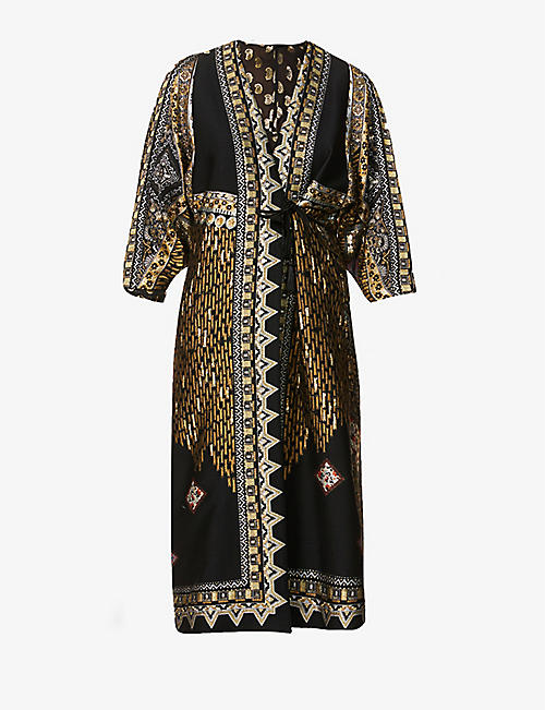 ETRO: Graphic-pattern wool-blend brocade coat