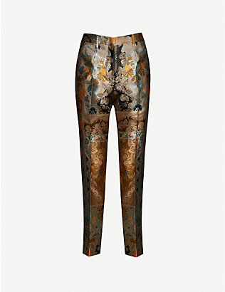 ETRO: Floral-print straight high-rise woven trousers