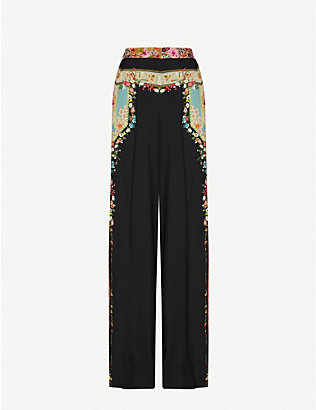 ETRO: Floral-print wide-leg high-rise woven trousers