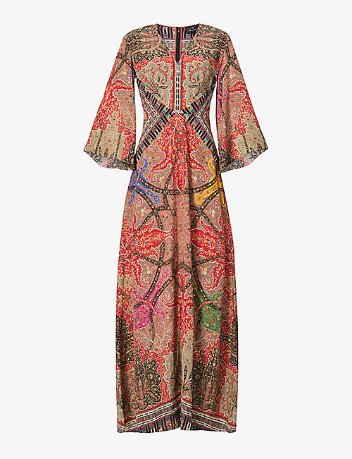 ETRO: Paisley and geometric-print flared silk gown
