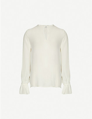 ETRO: Long-sleeved relaxed-fit silk top